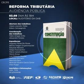 Reforma Tributária será discutida na OAB Paraná na próxima terça-feira (3/9)
