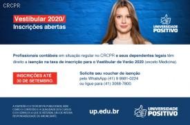 Profissional contábil do Paraná e seus dependentes têm isenção da taxa de inscrição do Vestibular de Verão 2020 da UP