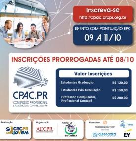 CPAC.PR tem suas inscrições prorrogadas até 8/10
