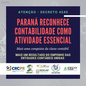Governo do Paraná reconhece contabilidade como atividade essencial