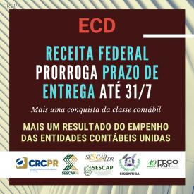 Receita Federal prorroga prazo de entrega da ECD