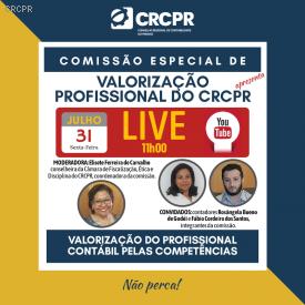 Próxima live do CRCPR será sobre