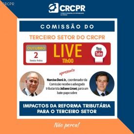 Próxima live do CRCPR é sobre Impactos da Reforma Tributária para Entidades do Terceiro Setor