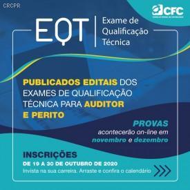 Publicados editais do Exame de Qualificação Técnica 2020