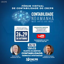 Começou o Fórum Virtual de Contabilidade do CRCPR, com mais de 3,1 mil inscritos