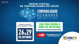 Fórum Virtual de Contabilidade do CRCPR tem quarta-feira movimentada com quatro palestras, em duas salas simultâneas