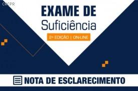 Nota de Esclarecimento: Exame de Suficiência 2020.2, publicada em 9/11